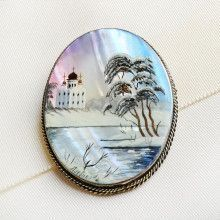Russian Church Winter Scene Brooch