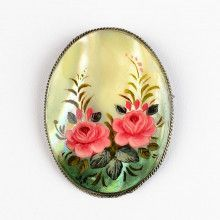 Roses Bouquet Mother of Pearl Brooch