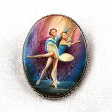 Russian Ballet Handpainted Brooch