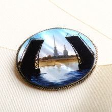 Drawbridge of St. Petersburg Pin Brooch