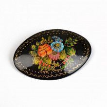 Handpainted Flowers Brooch Pin