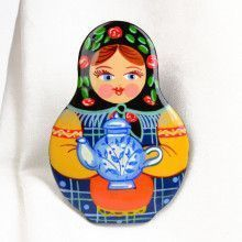 Tea Time Nesting Doll Brooch