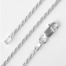 1.25mm Sterling Silver Diamond-Cut Rope Chain Necklace