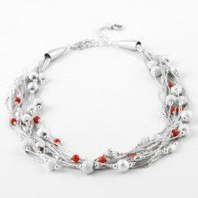 Liquid Silver and Red Coral Multi-strand Necklace