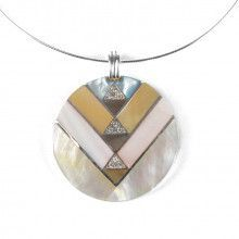 "Mosaic Mother of Pearl 2"" Pendant Necklace"