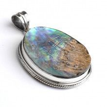 Natural Abalone in Silver Pendant