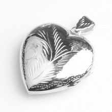 Large Silver Heart Locket Pendant