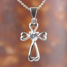 Cubic Zirconia Heart Cross