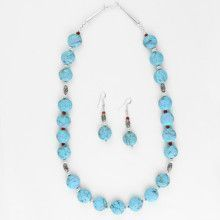 Natural Turquoise Necklace & Earrings Set