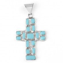 Mosaic Turquoise and Silver Cross Pendant