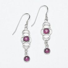 Dual Stone Silver and Garnet Earrings