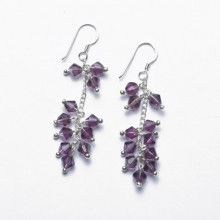Purple Crystal and Silver Earrings