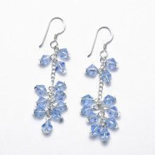 Light blue Crystal and Silver Earrings