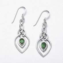 Celtic Silver and Green Crystal Earrings