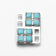 Turquoise and Silver Pin