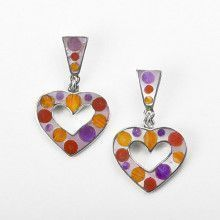 Beautiful Inlay Heart Earrings