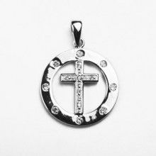Crystal Circle Cross Pendant