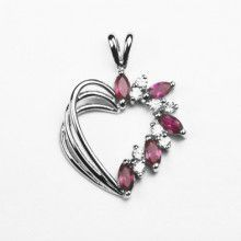 Sterling Silver Heart Pendant with Crystals