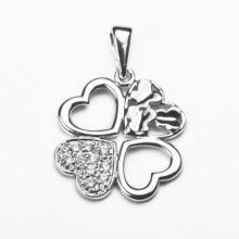 Four Hearts Sterling Silver Pendant with Crystals