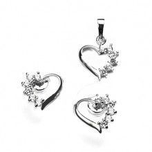 Sterling Silver Crystal Heart Earring and Pendant Set