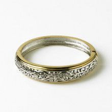 Two-tone Etched Bangle Bracelet