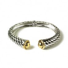 Two-tone Rope Bangle Bracelet