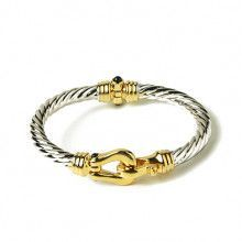 Two-tone Buckle Bangle Bracelet