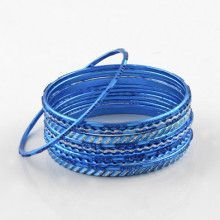 Blue Glitter Fashion Bangle Bracelet Set