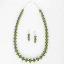 Saucer Mojave Green Turquoise Necklace and Earrings Set