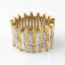 Doodles Gold and Silver Stretch Bracelet