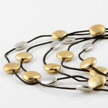 Gold and Silver Drops Layered Necklace and Earrings Set