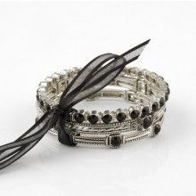 Silver and Black Fashion Bracelet Set