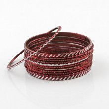 Red Glitter Fashion Bangle Bracelet Set