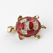 Cute Red Turtle Pin with Austrian Crystals