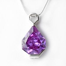 Lavender CZ Teardrop Pendant Necklace