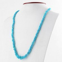 Long Blue Turquoise Chips Necklace