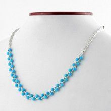 Sterling Silver and Turquoise Beads Necklace