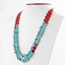 Natural Turquoise and Red Jasper Necklace