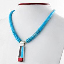Turquoise Necklace with Multi Stone Inlay Pendant