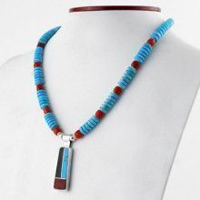 Inlay Pendant Natural Turquoise Necklace