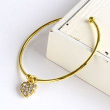 Heart Charm Bangle Fashion Bracelet