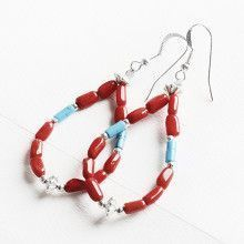 Red Coral with Turquoise Beads Earrings