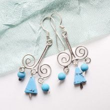 Sterling Silver Swirls with Turquoise Earrings