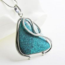 Turquoise Triangle in Silver Swirls Pendant
