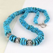 Turquoise Beads with Silver Balls Necklace