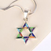 Colorful Star of David Pendant