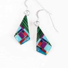 Cool Multi-Stone Inlay Earrings
