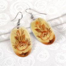 Mother of Pearl Painted Flower Earrings