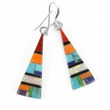 Multi-Colored Gemstone Triangle Earrings