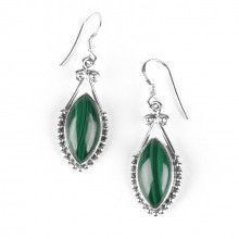 Malachite in Stylized Silver Earrings